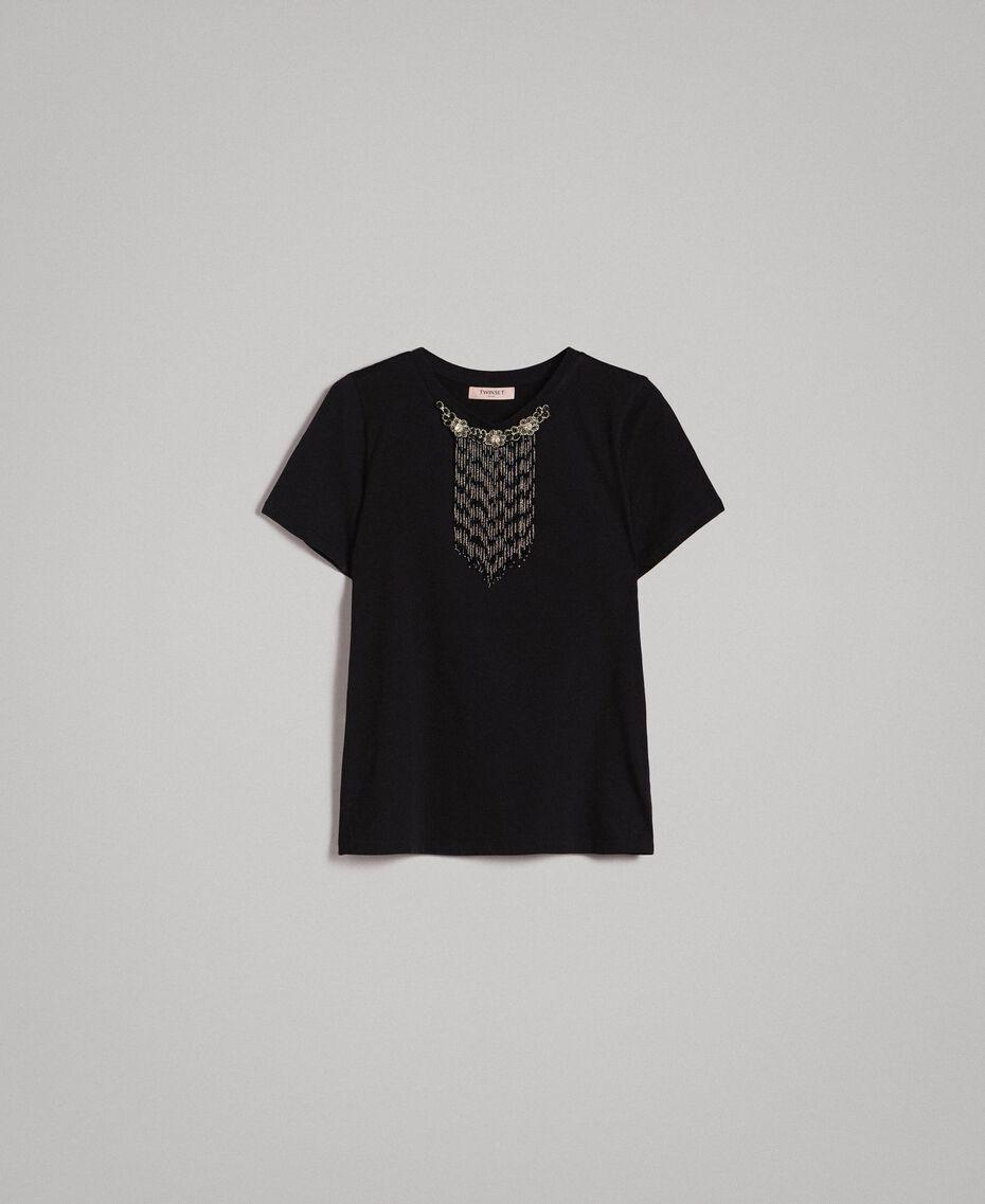 T-Shirt mit Stickerei und Fransen Schwarz Frau 191TT2204-0S
