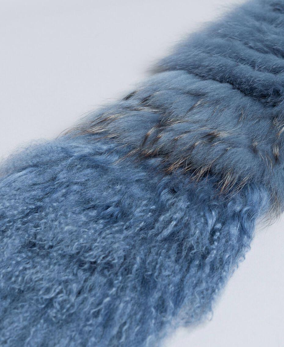 Étole tricotée en fourrure Bleue poudre Femme AA8P9D-02