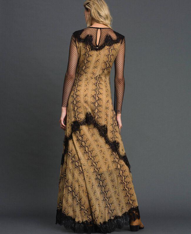 Robe longue en crêpe georgette à motif animalier Imprimé Python Camel Femme 192TT2271-03