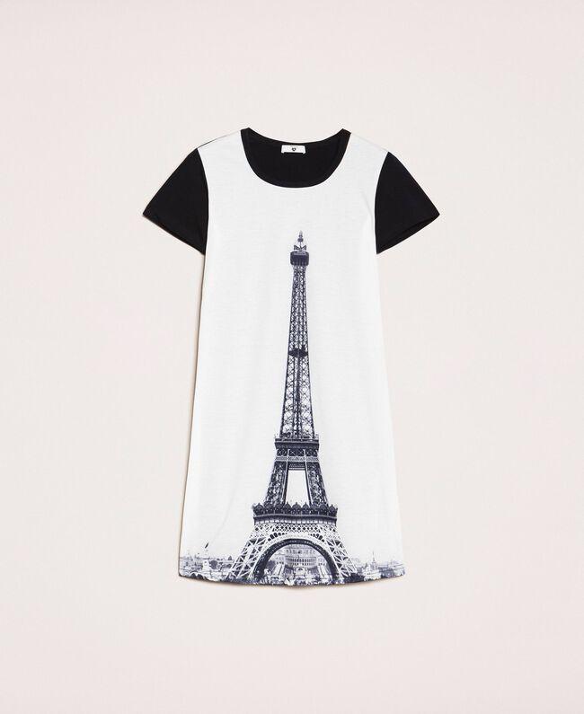 Ночная рубашка с принтом Черный женщина 201LL26CC-0S