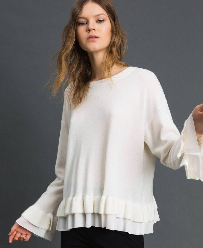 Pull en laine et cachemire Blanc Neige Femme 192TP3214-01