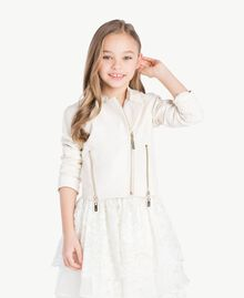 Faux leather biker jacket Pale Cream Child GS82DA-02