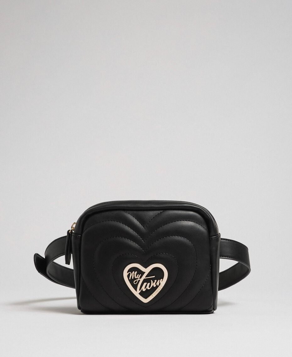 Faux leather belt bag with quilted hearts Black Woman 192MA7084-01