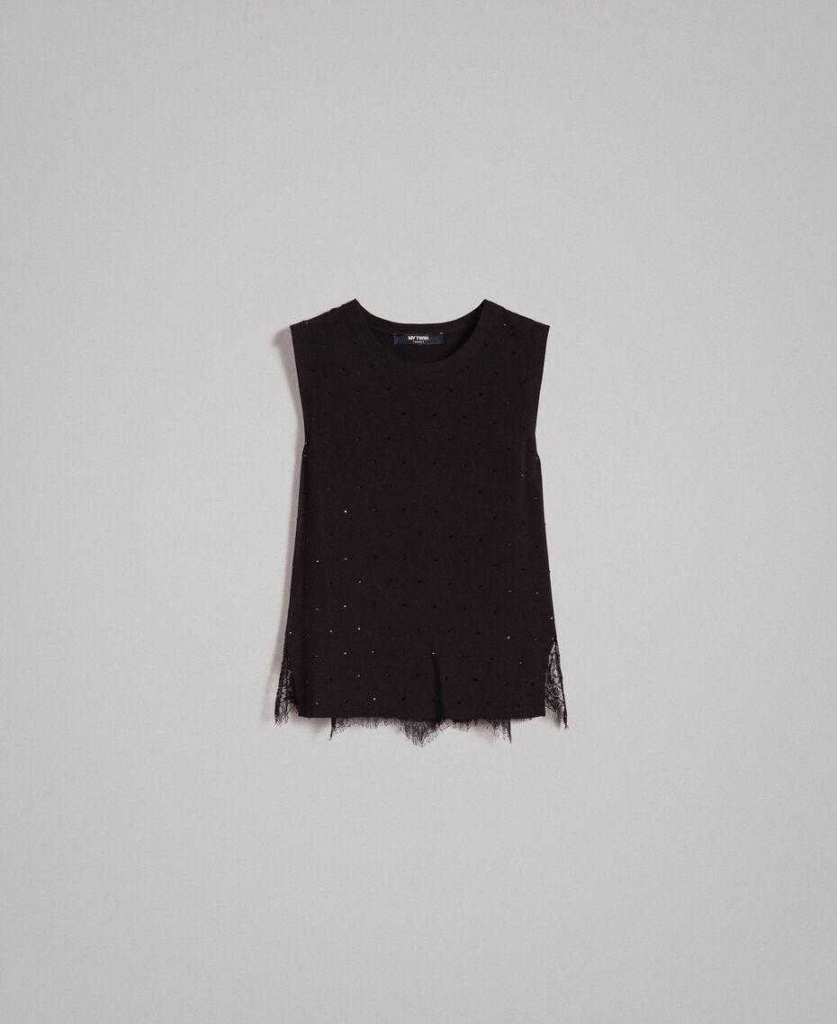 Top avec strass et dentelle Noir Femme 191MP2450-0S