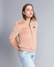 """Faux fur bomber jacket """"Nude"""" Beige Woman JA82KA-02"""