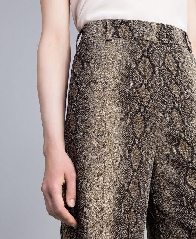 Pantaloni cropped animalier Jacquard Camel Snake Donna PA828P-04