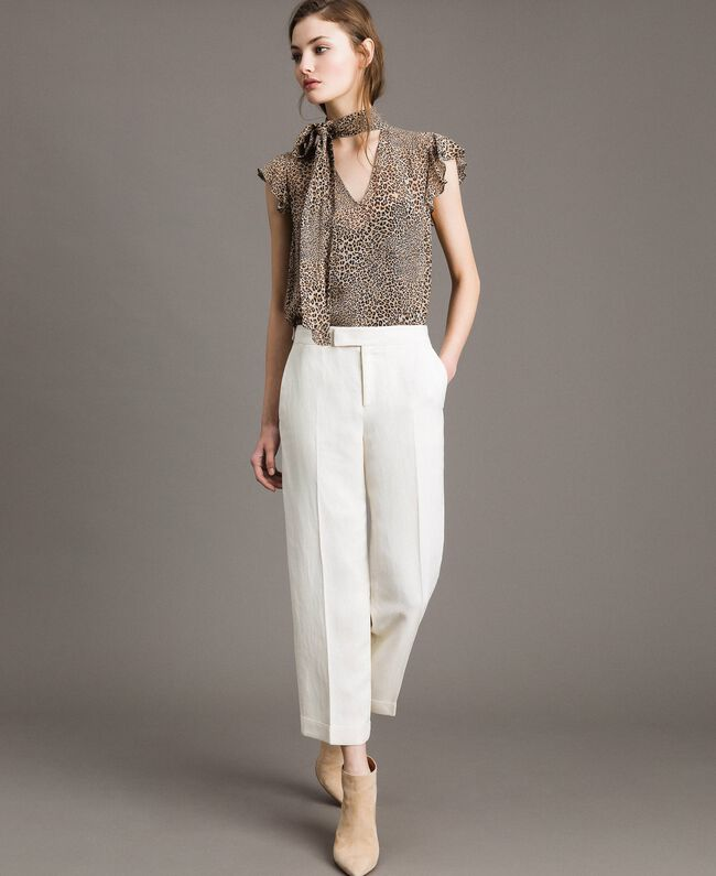 Linen blend cropped trousers White Snow Woman 191TP2202-01