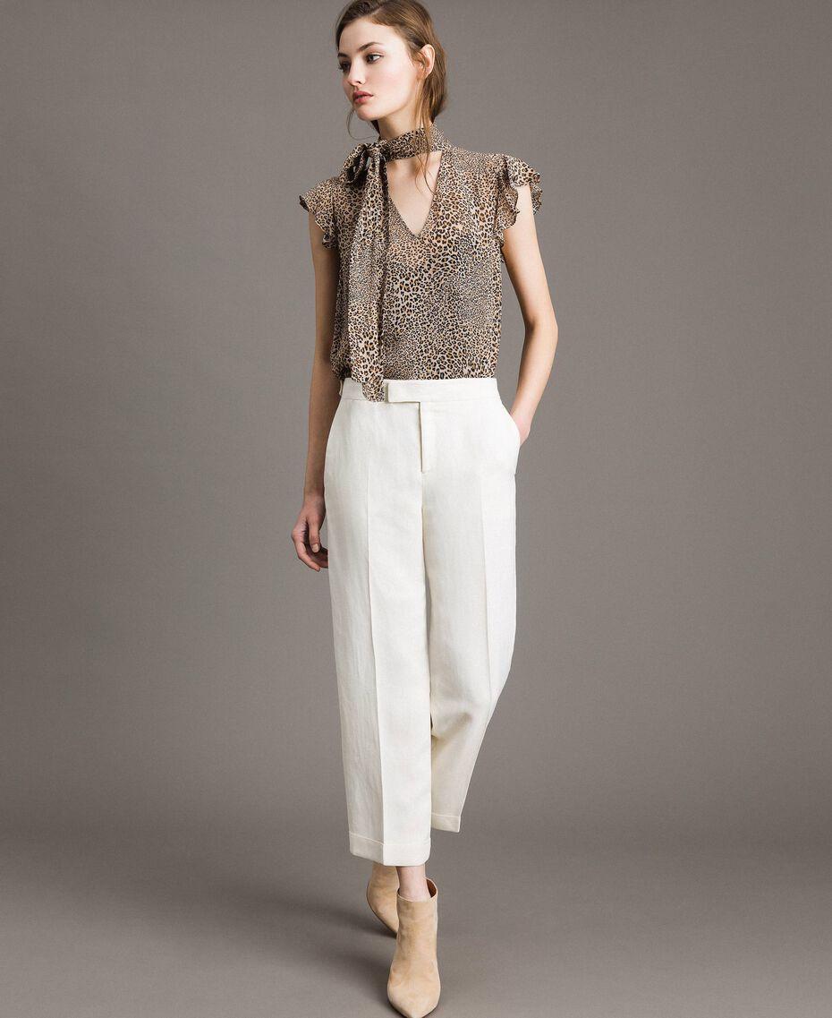 Pantalon cropped en lin mélangé Blanc Neige Femme 191TP2202-01