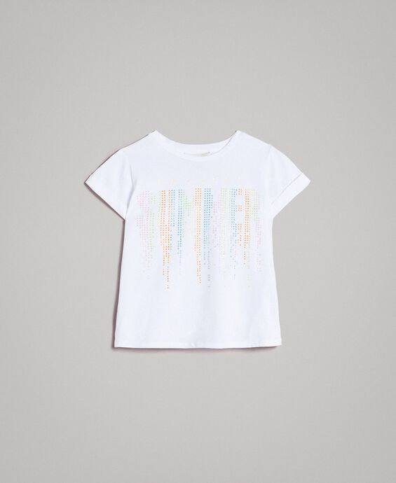 Cotton T-shirt with multicolour rhinestones