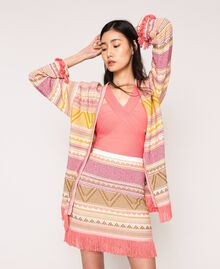 Short skirt with fringes Multicolour Pink Jacquard Woman 201TT3163-0T