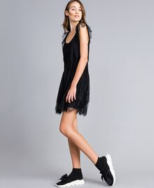 Mesh, lace and plumetis dress Black / Black Woman JA82HA-02