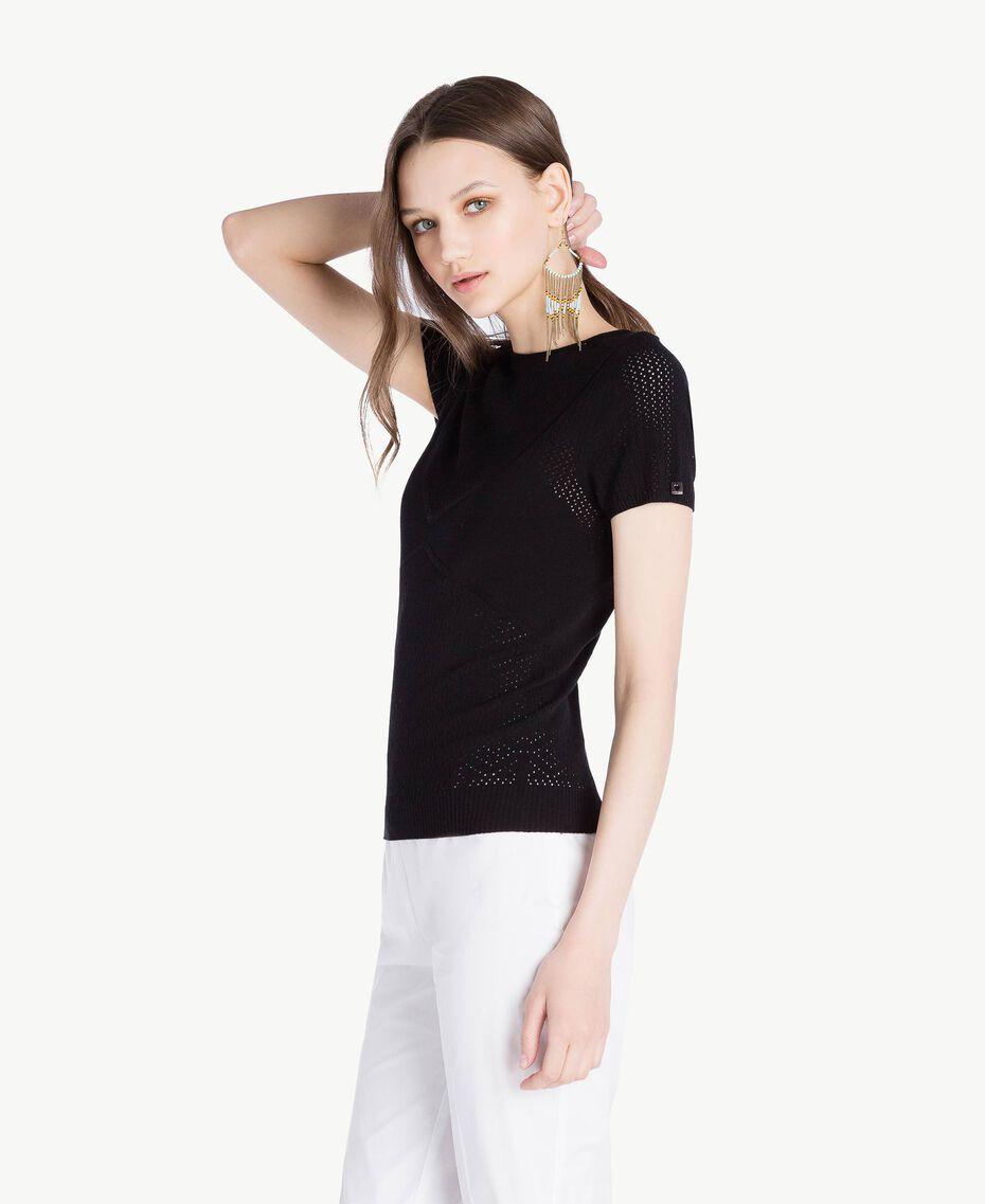 Pullover aus Viskose Schwarz Frau TS832S-02