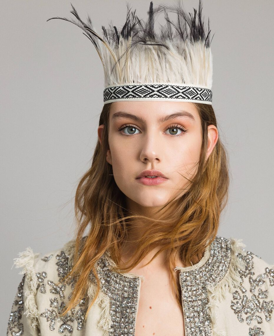 Headband-belt with feathers White / Black Woman 191TO534L-0S