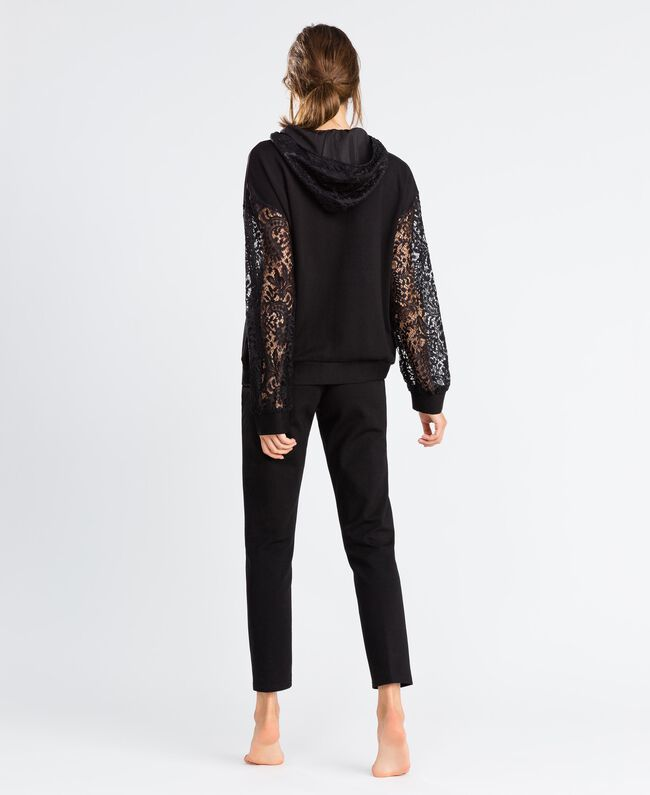 Zip-up viscose sweatshirt with lace Black Woman IA8CEE-03