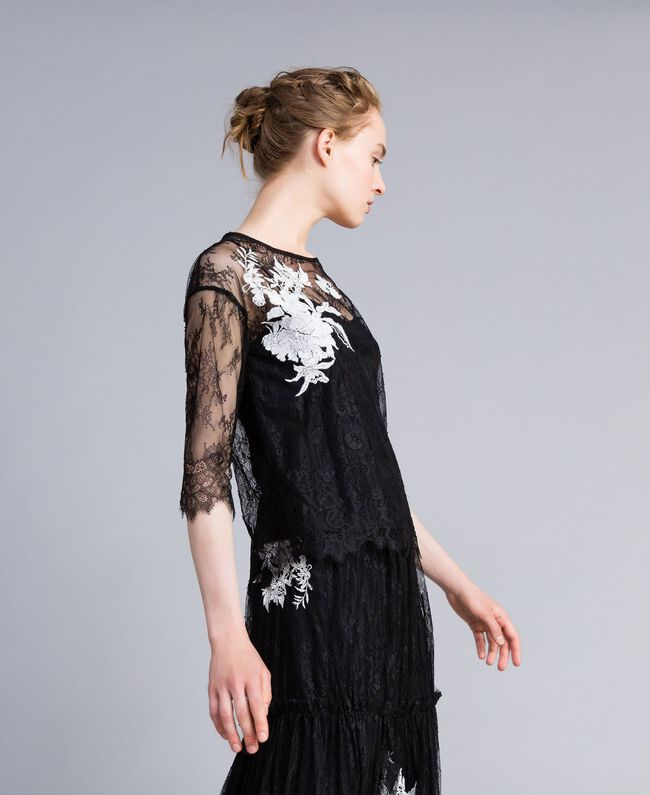 Valencienne lace blouse Black Woman PA824S-01
