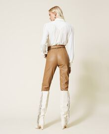 """Coated fabric carrot fit trousers """"Rum"""" Brown Woman 212TP2021-04"""
