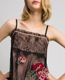 Valenciennes lace top with floral thread embroidery Black Woman 192TP2588-04
