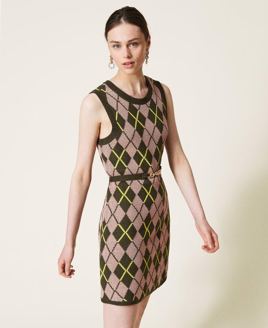 Robe jacquard «Coltan» à carreaux Multicolore Vert «Amazonie» / Rose «Wood Rose» Femme 212AP3234-02