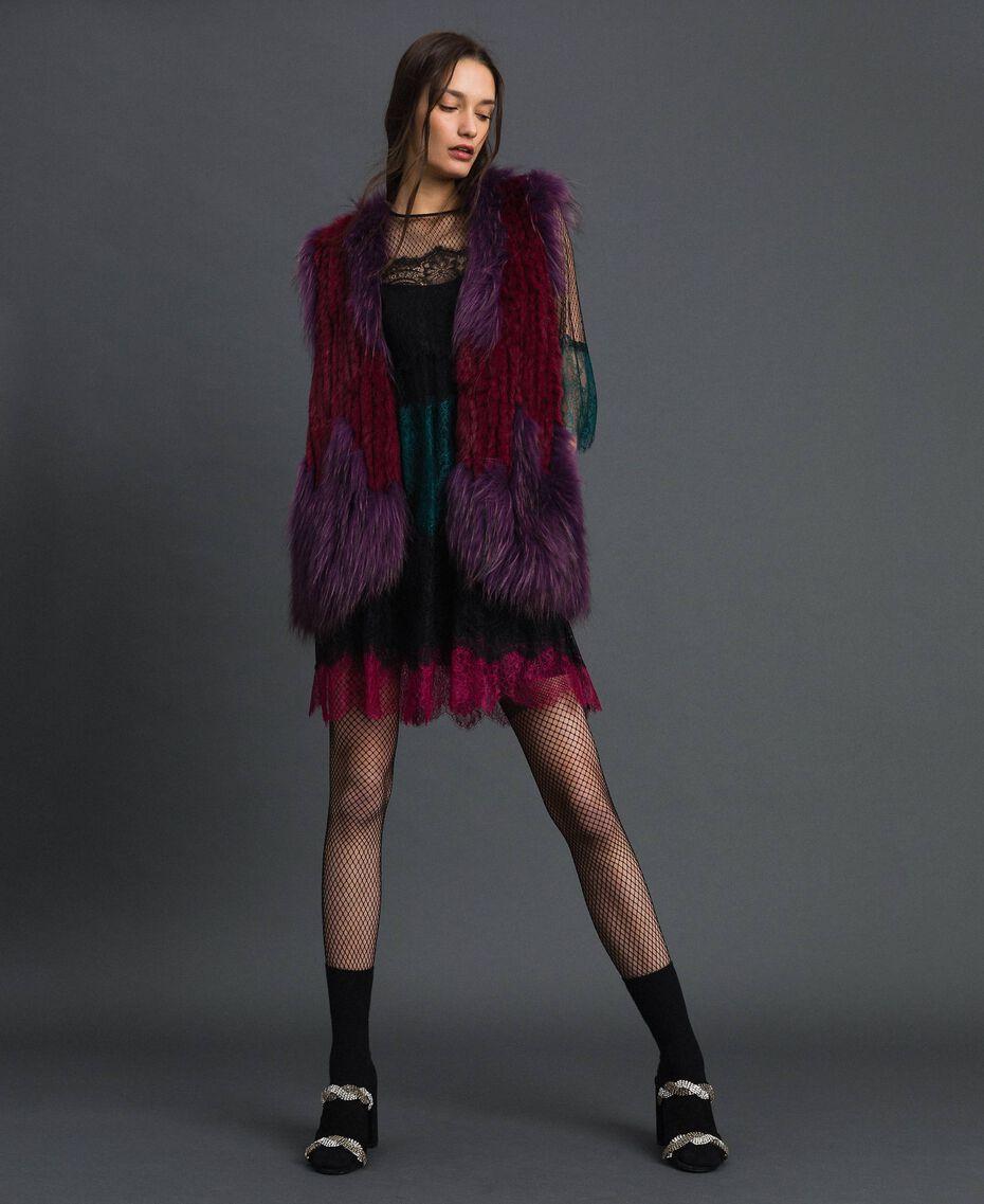 Tricot fur waistcoat Beet Red / Purple Woman 192TP2010-0T