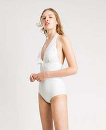 "Glitter one-piece swimsuit with a bow ""Milkway"" Beige Woman 191LBM3ZZ-02"