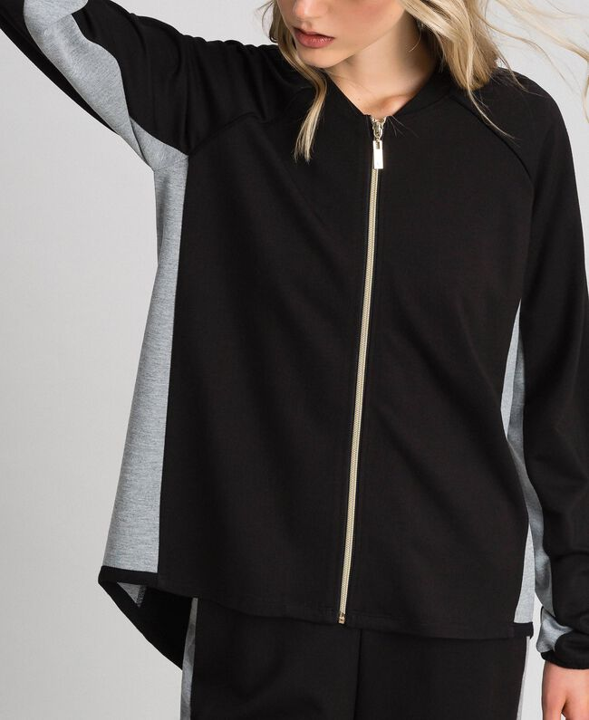 Zip sweatshirt with contrasting details Black/ Melange Gray Woman 192LI2HEE-04