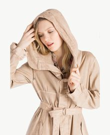 Cotton linen parka Coffee Cream Beige Woman YS824B-04