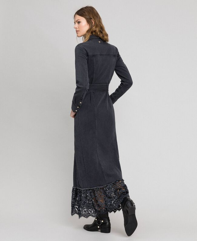 Black denim shirt dress with lace flounce Black Denim Woman 192MP2330-03