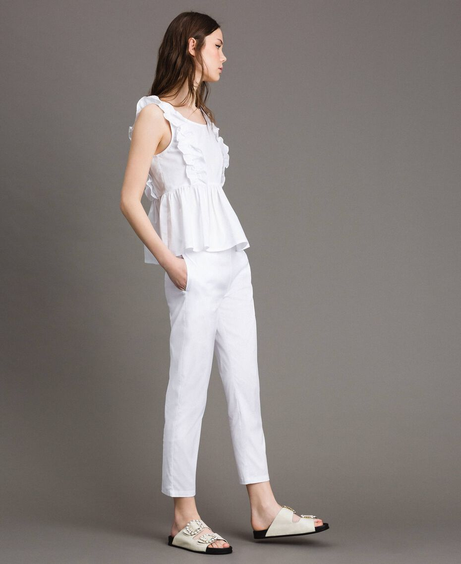 Leggings in popeline Panna White Donna 191MP2214-02