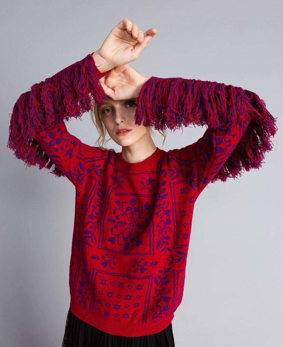 Maxi pull jacquard à franges Bicolore Violet Mûre / Rouge Cerise Femme QA8TBN-02