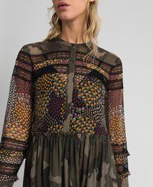 Robe longue avec imprimé camouflage et floral Imprimé Patch Fleur Camouflage Femme 192TT2120-04