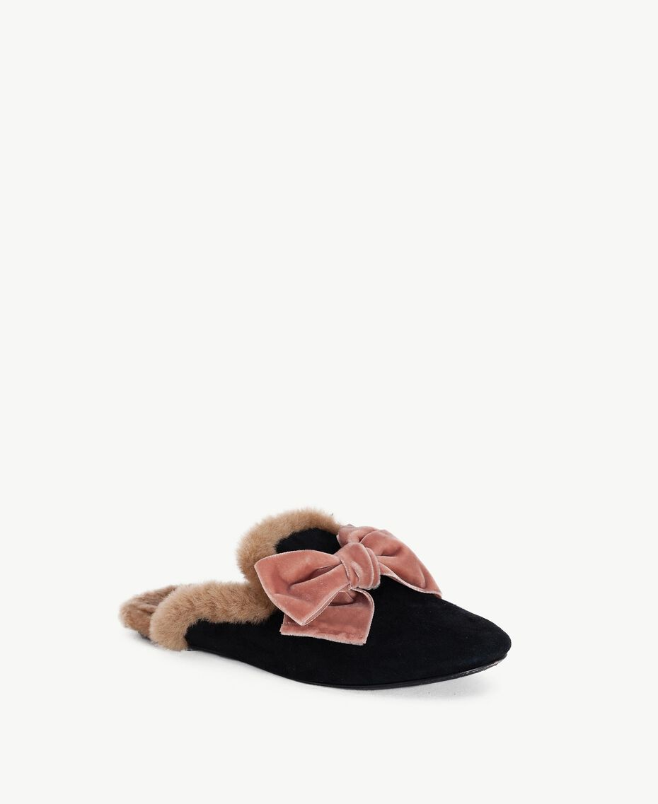 "TWINSET slippers daim Noir / Marron ""Deep Honey"" CA7THQ-02"