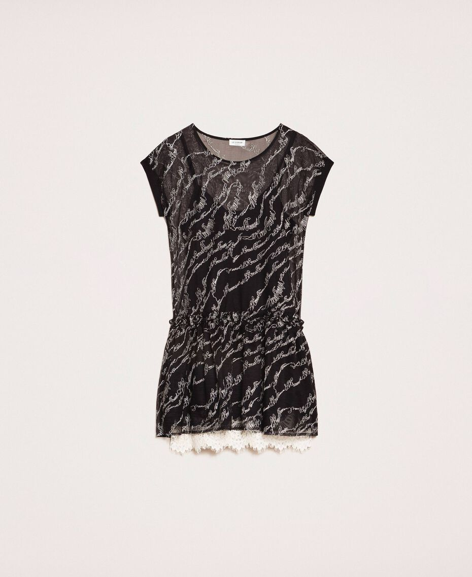 Tulle dress with embroidered logo Black Woman 201ST2041-0S