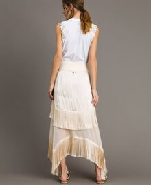 """Long satin skirt with flounces and fringes """"Milkway"""" Beige Woman 191LM2BCC-03"""