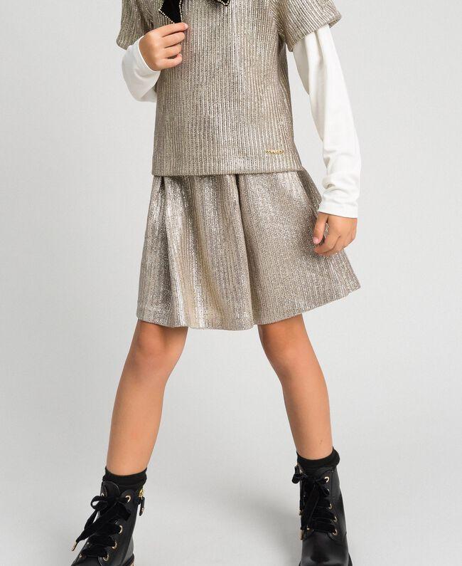 Gonna in maglia laminata Giallo Oro Chiaro Bambina 192GJ2360-01