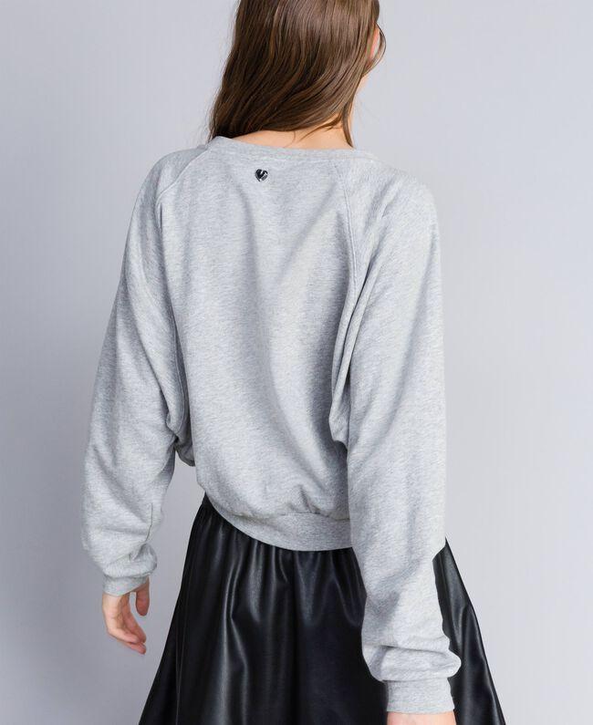 Sweatshirt aus Baumwolle Hellgrau-Mélange Frau JA82FB-03