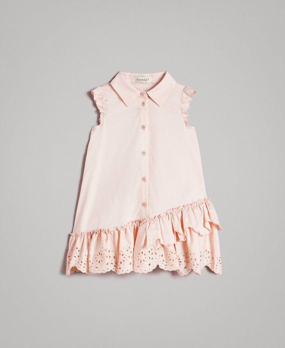 Robe chemise en popeline avec broderie anglaise Rose En fleur Enfant 191GB2190-01