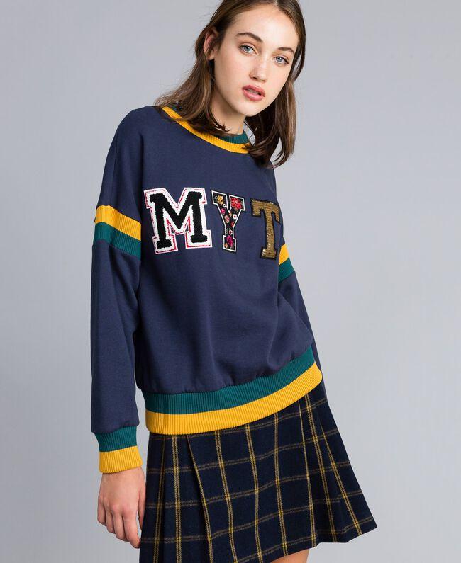Sweat en coton lainé avec patchs Multicolore Bleu Nuit / Jungle / Or Femme YA82LQ-04