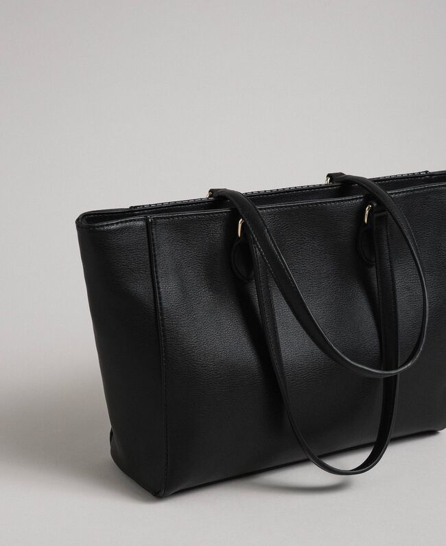 Sac cabas en similicuir avec clous et pompon Noir Femme 192MO8010-04
