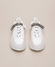 Running shoes with jewel detail Vanilla White Woman 201MCP092-05