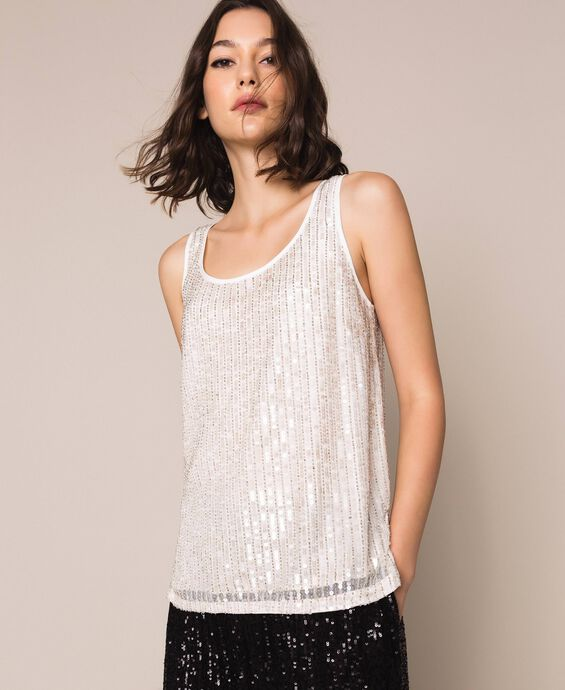 Full sequin and crystal bead top