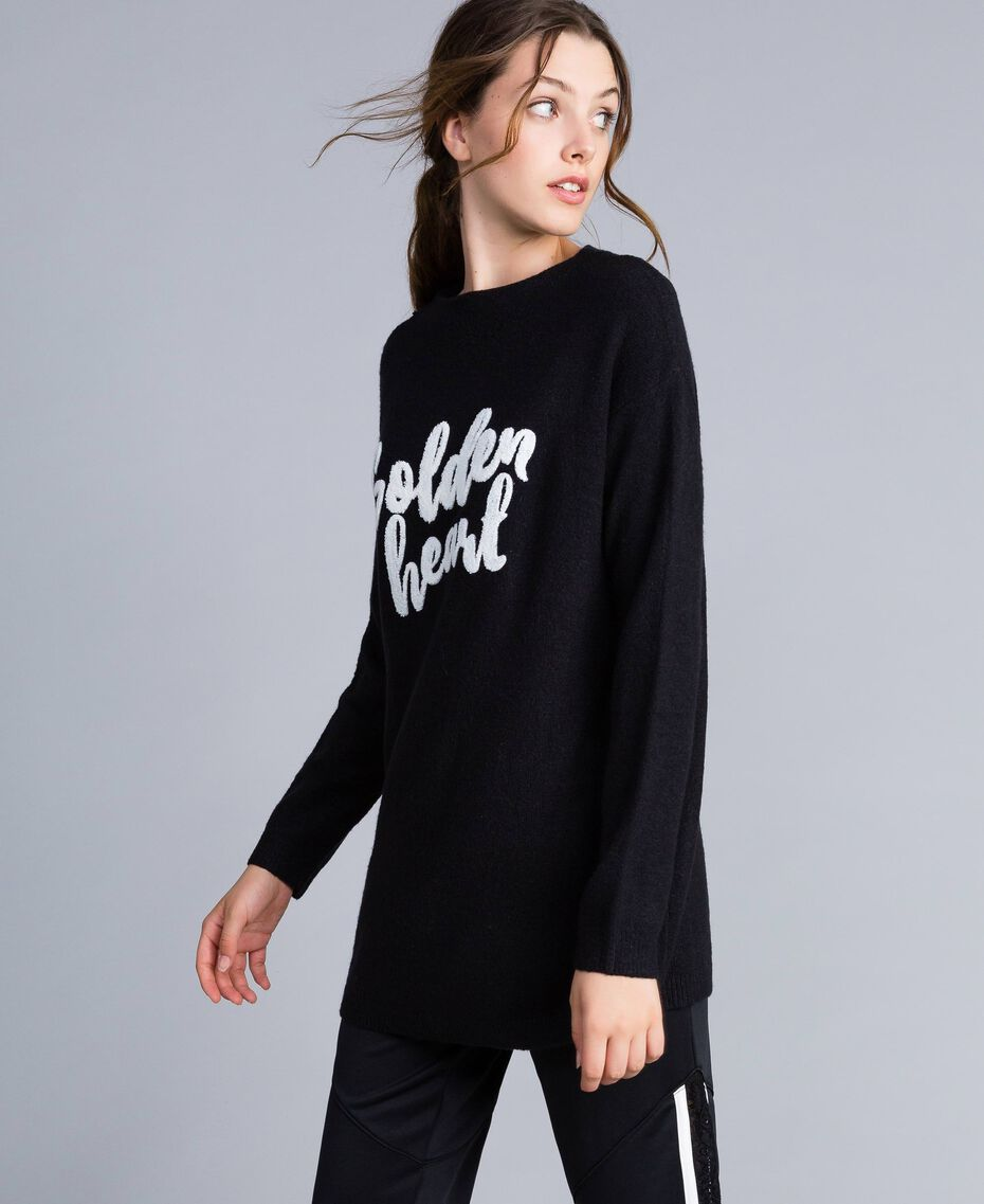 Wool blend oversized jumper Black Woman IA86HH-02