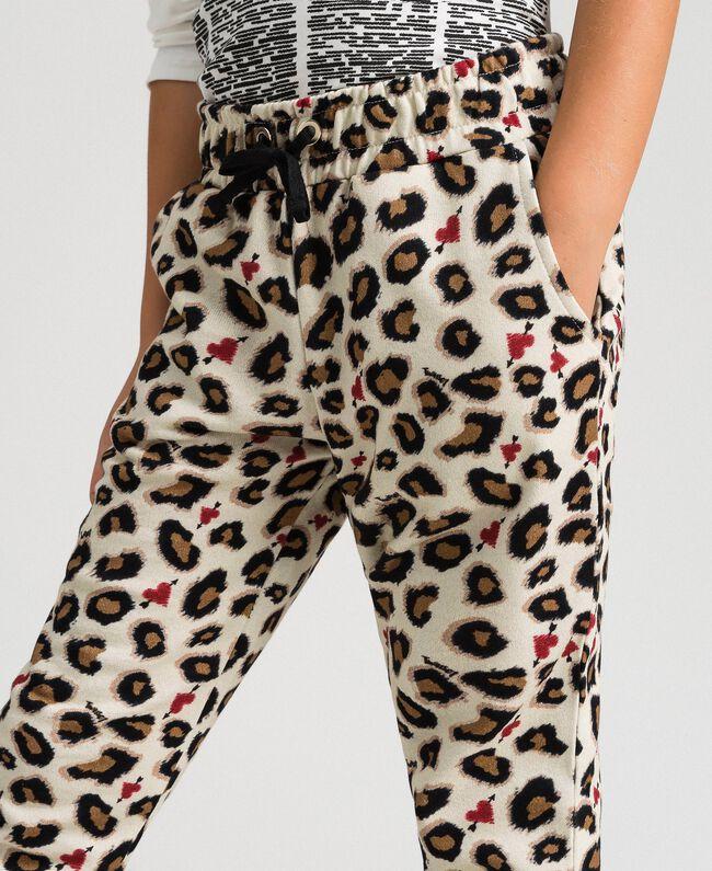 Pantaloni a stampa animalier con cuori Stampa Maculato Bambina 192GJ2330-03