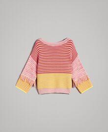 Pull effet patchwork avec franges Rayures Patchwork Rose / Jaune Femme 191TP3311-0S