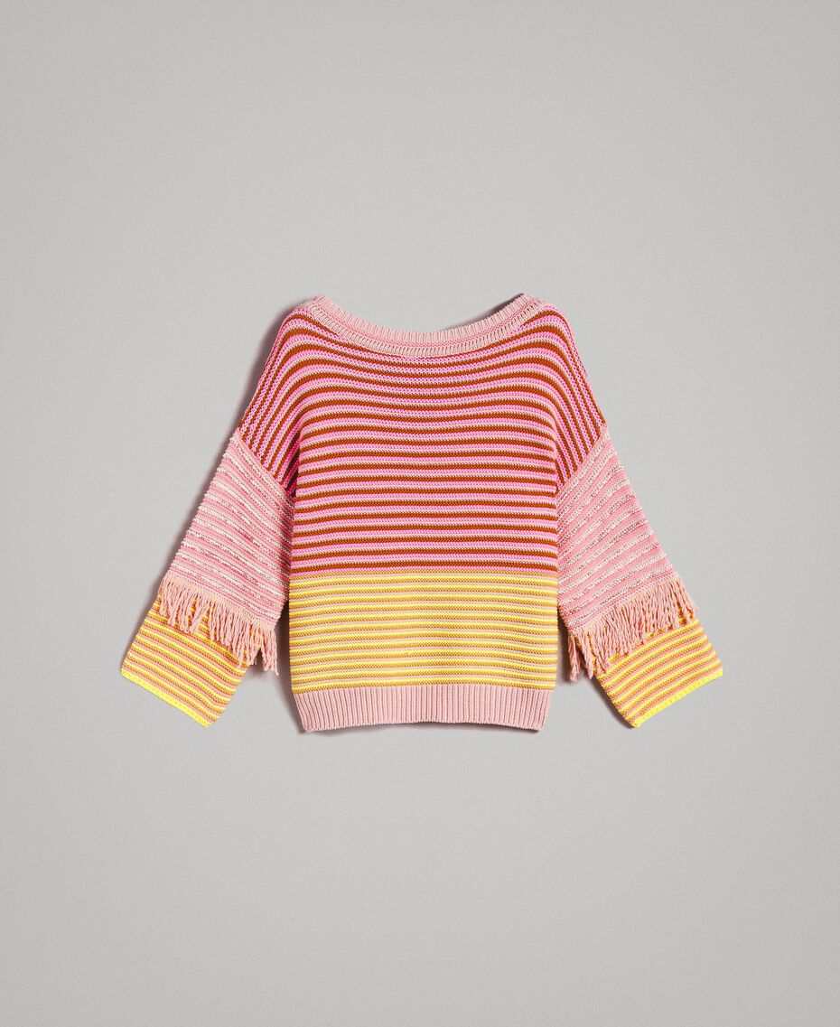 Patchwork effect top with fringes Patchwork Pink  / Yellow Striping Woman 191TP3311-0S