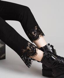 Pantalon en point de Milan et dentelle Noir Femme 191TP242H-01