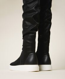Stivali sneakers con logo Nero Donna 202TCP038-02