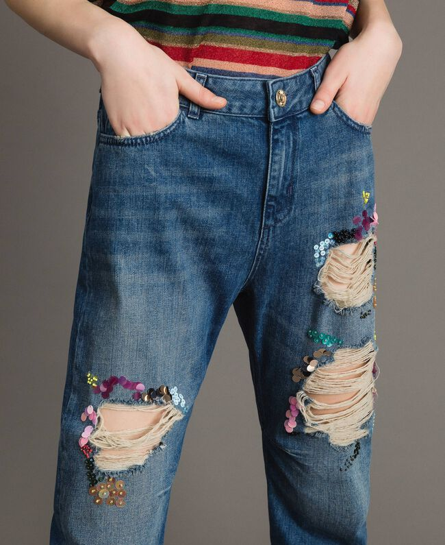 Zerrissene Girlfriend Jeans mit Pailletten Denimblau Frau 191MT2184-04