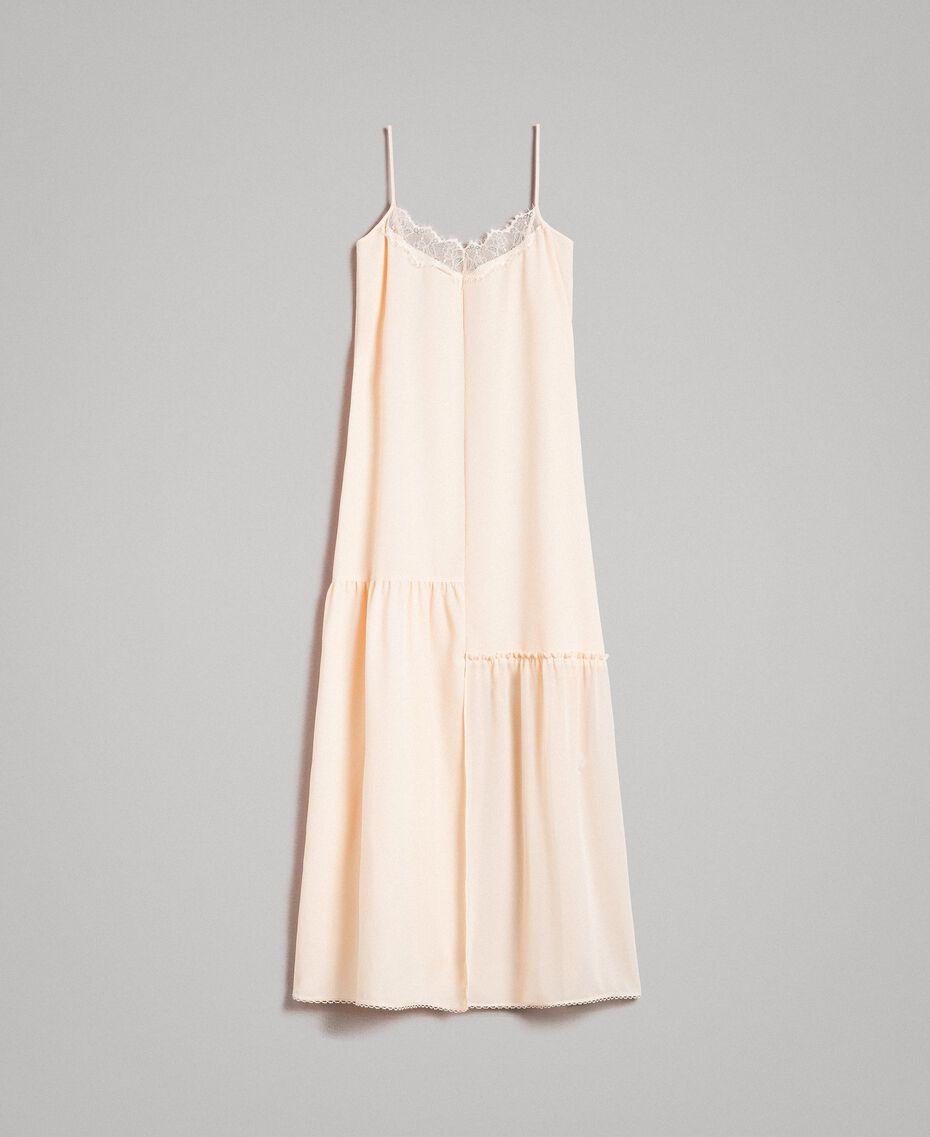Kleid im Unterkleidstil aus Crêpe de Chine mit Spitze Morgendämmerung Frau 191ST2064-0S