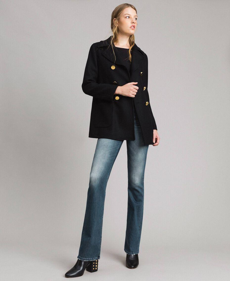 Mantel aus Tuchstoff Schwarz Frau 191MP2461-0T