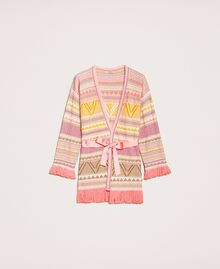 Maxi cardigan à franges Jacquard Multicolore Rose Femme 201TT3161-0S